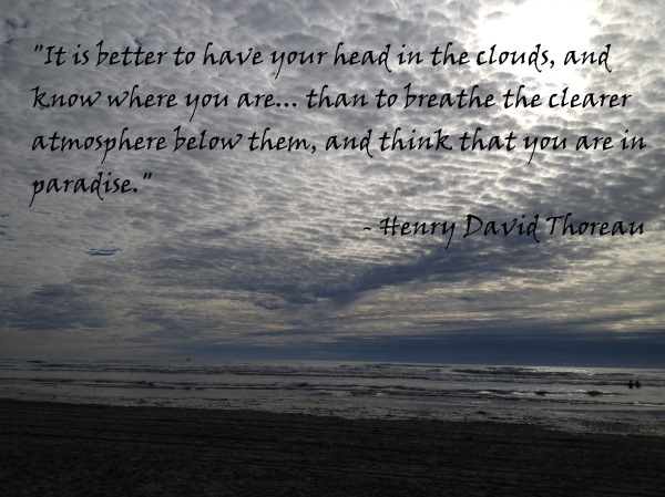 Beach clouds with Henry David Thoreau quote