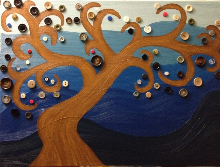 Button Tree, oil paint and buttons, $50.00
