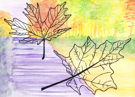 Fall, watercolor and india ink, $25.00
