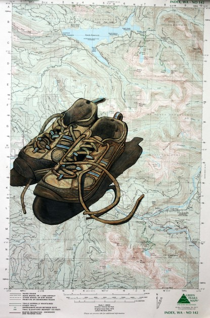 Hiking Boots on Topographical Map, colored pencil and pen/ink, $50.00