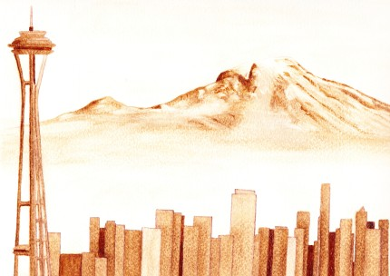 Seattle Skyline with Mount Rainier, coffee, **SOLD**