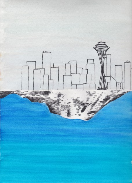Seattle Skyline with Mount Rainier Reflection, watercolor and india ink, $25.00