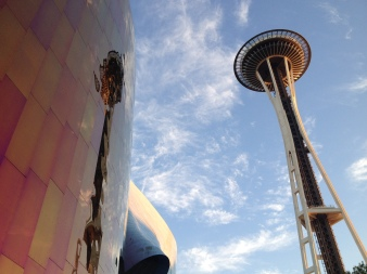 Space Needle EMP Reflection, Seattle, WA, digital photography, prices starting at $25.00