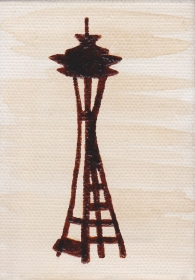 "Space Needle (3.5""x2.5"",) coffee, $15.00"