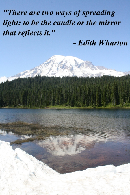 Mount Rainier reflection with Edith Wharton quote