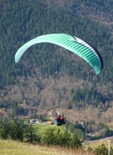 A paraglider near Poo Poo Point