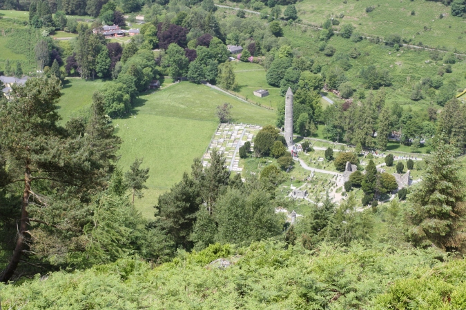 A view of the Monastic City from the Derrybawn trail, Glendalough Valley, Wicklow Mountains National Park, Ireland