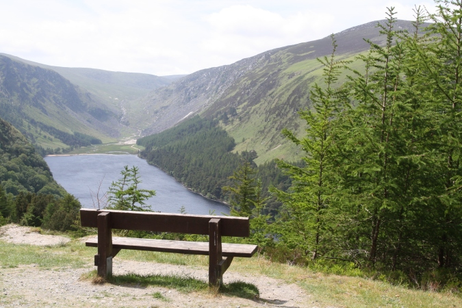 Picnic spot with views of Upper Lake, Glendalough Valley, Wicklow Mountains National Park, Ireland