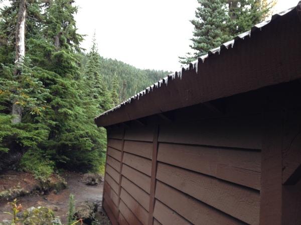 Icicles hang from a shelter at Garibaldi Lake, Garibaldi Provincial Park, BC, Canada